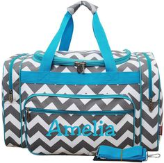 Personalized Duffle Bag Gray Chevron Hot Pink Dance by parsik93, $34.99