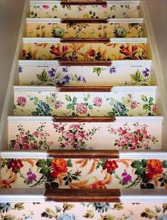 Wallpapered stairs :)