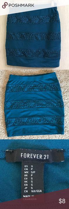 NWOT Forever 21 tube mini skirt Tube mini skirt with lace stripe detail. Size small. Originally bought from forever 21. Never worn. Forever 21 Skirts Mini