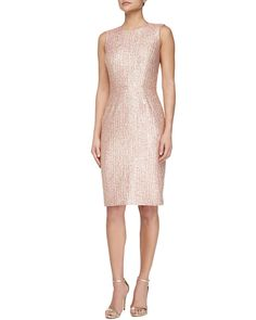 Neiman Marcus - Kalinka Sleeveless Tweed Cocktail Dress