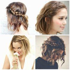 Quattro ragazze con i capelli a caschetto, acconciature capelli ricci  corti, pettinature con trecce laterali
