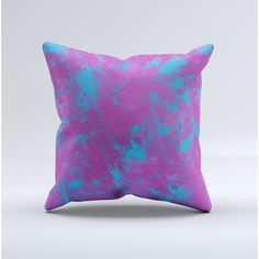 The Purple and Blue Paintburst Ink-Fuzed Decorative Throw Pillow ($20) ❤ liked on Polyvore featuring home, home decor, throw pillows, decorative pillows, home & living, home décor, light purple, square throw pillows, purple toss pillows and blue home decor