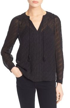 Rebecca Taylor Long Sleeve Fil Coupé Top available at #Nordstrom