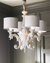 H5AJ3 White Baroque Chandelier    Love this, but only 4 dim lights so not very functional.