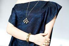 Gold squares all over Pixel necklace  Liaelnatan.com
