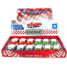 """12 pcs in Box: 5"""" 1955 Chevy Nomad 1:40 Scale (Blue/Green/Metallic Red/Red) by Kinsmart. $37.99. Pull Back Action. Official Licensed Product. 1:40 Die Cast Metal Car with Plastic Parts. Openable Doors. Not Suitable for Children Under 8 Years Old. Box of 12 pcs 5"""" 1955 Chevy Nomad 1:40 Scale in Blue, Green, Metallic Red and Red, made by Kinsmart."""