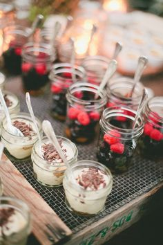 Mason jar desserts //  Off The Beaten Path Weddings #napa #sonoma #calistoga #winecountry #california  : onelove photography - onelove-photo.com  Read More: http://www.stylemepretty.com/california-weddings/2015/02/23/rustic-farm-to-table-napa-valley-wedding/
