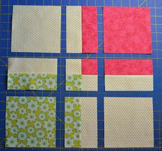 interesting way of cutting a 4 patch into a 9 patch. would love to see a complete quilt from this: details below. Maratona de Patchwork - 2º Desafio: Variações do Nine Patch | Clubinho da Costura.