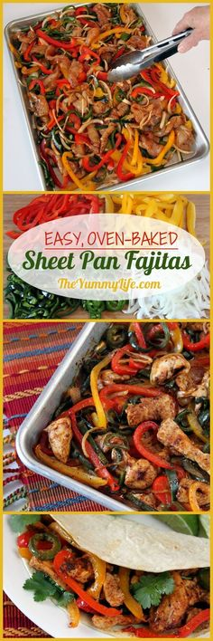 Easy, Oven-Baked Sheet Pan Chicken Fajitas ~ A quick, no-fuss method for making this healthy Mexican food favorite with make-ahead convenience