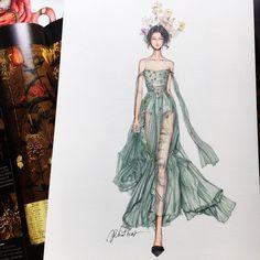 Eris Tran: Watercolor Illustration of Christian Dior, Haute Couture, Spring/Summer 2017