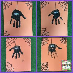 Handprint spiders that are perfect for your Fall or Halloween party. … Handprint spiders that are perfect for your Fall or Halloween party. Handprint spiders that are perfect for your Fall or Halloween party. Handprint spiders that… Continue Reading → Kids Crafts, Halloween Crafts For Toddlers, Halloween Arts And Crafts, Daycare Crafts, Fall Crafts For Kids, Halloween Crafts Kindergarten, Preschool Halloween Party, Classroom Crafts, Theme Halloween