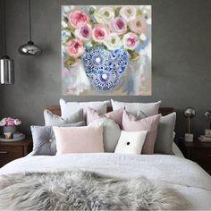Blush cherish - original on belgina linen 90 x90 cm