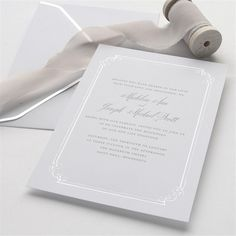 22 best wedding invitations images on pinterest wedding invitation silver foil border wedding invitation stopboris Images