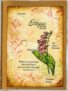 Layers of ink - Vintage Foxglove Art Journal Tutorial by Anna-Karin Evaldsson. Art Journal Tutorial, White Gel Pen, Artist Trading Cards, Old Paper, Mixed Media Canvas, Art Journal Pages, Craft Stick Crafts, Paper Background, Mini Books