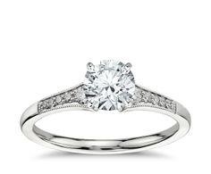 Petite Milgrain Diamond Engagement Ring in Platinum (.10 ct. tw.)   Blue Nile  Absolutely beautiful!!!