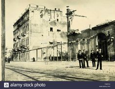 The Grand Palace Hotel on fire but still standing, and the completely destroyed Grand Hotel Izmir, Izmir, Turkey Stock Photo Turkey Stock, Palace Hotel, Still Standing, Grand Hotel, Louvre, Fire, Stock Photos, Travel, Image