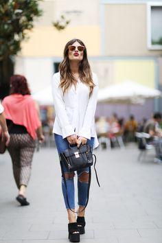 Blouse: Zara / Sunglasses: Dior ( here ) / Jeans: Asos (old) / Bag : Phillip Lim / Shoes: Jeffrey Campbell via Aurevoircinderella ( here ) / Watch: Radiant