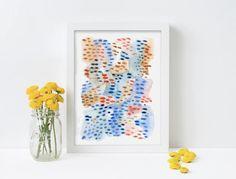 Seaside dots watercolour print, abstract art, minimalist art, modern art, gallery wall, colourful art, watercolour print, blue, coral, brown Abstract Watercolor, Abstract Canvas, Modern Art, Contemporary Art, Minimalist Art, Giclee Print, Gallery Wall, Colourful Art, Artsy