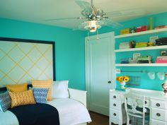 Add even more interest to a room by picking one color and using it in a variety of hues. Each shade of blue, from navy to turquoise, in this bedroom works great with the yellow individually. Too many colors can often muddy a palette, but the contrasting yellow is the glue that holds them all together. Photo courtesy of Camila Pavone