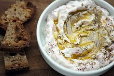 labneh recipe (extra thick yogurt dip) by David Lebovitz {this + delicious new bread recipe? Pesto, Dips, Do It Yourself Food, Good Food, Yummy Food, Lebanese Recipes, Middle Eastern Recipes, Arabic Food, Appetisers