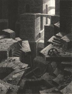Gérard Trignac (1955-) - La tour Landscape Artwork, Fantasy Landscape, Drawing Sketches, Art Drawings, Art Visionnaire, Environment Concept, Game Environment, Fantasy Places, Dark Fantasy Art