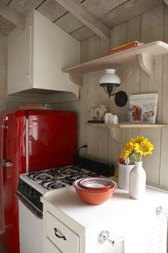 Red Fridge! Beach Cottage pop of color