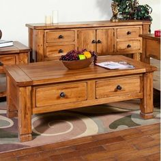 Sedona Two Drawer Coffee Table in Rustic Oak by Sunny Designs. $555.00. 3133RO Features: -Coffee table.-Two dovetail drawers. Color/Finish: -Rustic oak finish. Collection: -Sedona collection.