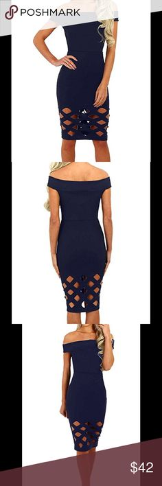 Cut out bandage body con dress Brand new with tags. Navy blue cut out/distressed body con Midi dress. 88% polyester 12% spandex. Stretchy and soft material. Suitable for nightclub, casual, big nite out and so on. Available sizes: small, medium, large, extra large. Please refer to chart for help w sizing. Posh rules only. No trades, no PayPal, no low ball offers. Please and thank you. Serious buyers only. Dresses Midi