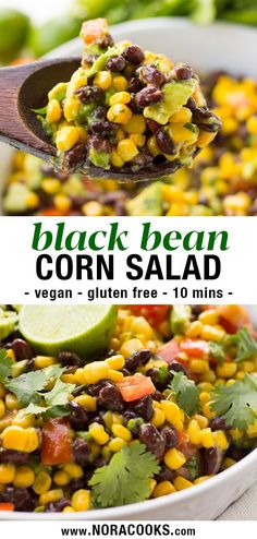 This vegan black bean salad is a true crowd pleaser for potlucks and summer parties! Black beans are tossed with corn, avocado, tomato, and a simple lime-cumin-maple vinaigrette dressing for a fast and fresh recipe that's ready in just 10 minutes. Serve i Corn Avocado Salad, Avocado Salad Recipes, Salad Recipes Vegan, Simple Salad Recipes, Best Vegan Salads, Vegan Bean Recipes, Avocado Dishes, Simple Salads, Whole Foods