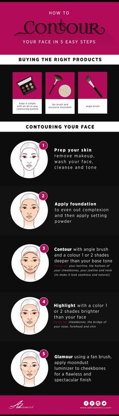 How To Contour Your Face in 5 Easy Steps Moondust is quickly becoming the product of choice for our shoppers so if you have not started contouring yet - first figure out which tools you'll need to be a pro, snapshot this guide and just try it. Let us know if you have any tips that you would like to share, feature in our graphics or want to review our products! Shop: http://www.ashcosmetics.com/how-to-contour-your-face/?utm_source=diw&utm_me #ashcosmetics #contouring #tips #makeup