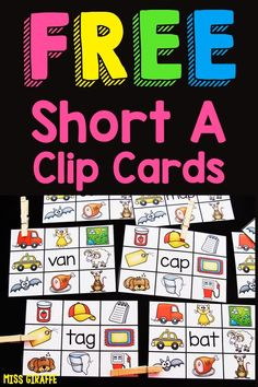 Free short vowel clip cards for the vowel a with simple CVC words to read with fun pictures! Love these! Short Vowel Activities, Phonics Activities, Kindergarten Pictures, Kindergarten Activities, Word Family List, Phonics Sounds, Teaching First Grade, Common Core Reading, Short Vowels
