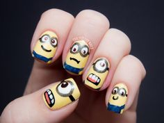 Check out this Cute Minions Nail Art ! Now you can impress your friends and all Minions fans. Love Nails, How To Do Nails, Fun Nails, Pretty Nails, Nail Swag, Minion Nail Art, Nail Art Designs, Nail Desighns, Nagel Stamping