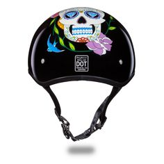 Daytona Sugar Skull Design Womens DOT Skull Cap Motorcycle Helmet comes in a solid black gloss color with a baked in white sugar skull design being a lightweight DOT skull cap motorcycle helmet. The moisture wicking fabric keeps head cooler and more comfortable in a low profile style for women motorcycle riders.
