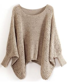 Khaki Batwing Sleeve Hollow Loose Sweater - Sheinside.com