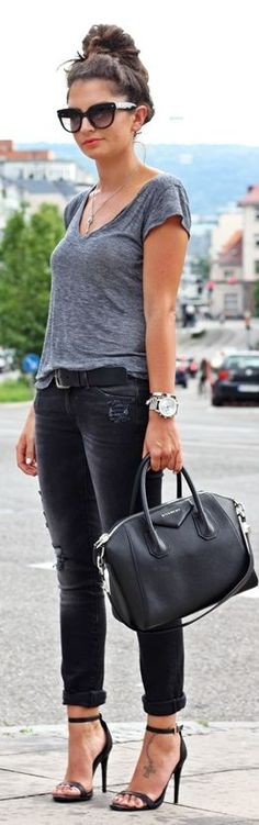 i love the draped gray top with distressed black jeans. 7fam Dark Grey Denim Ripped Skinnies by Fashion Hippie Loves
