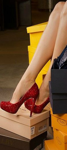"Ruby Red Heels Click your heels 3 times and say, ""There's no place like home."" Luv it!"
