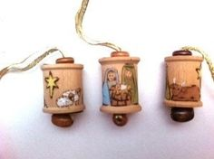 Nativity Wooden Spool Ornament