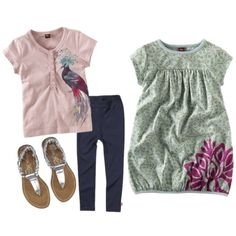 Tea Collection Bird of Paradise top, Zutano leggings, Kenneth Cole sandals, and Tea Collection Lotus Flower dress