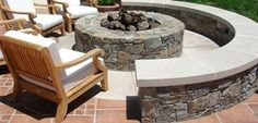 fire pit with built in bench!