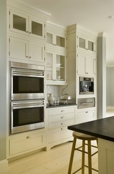 ovens, warming drawer, coffee machine on separate bank of cupboards - contemporary kitchen by Aquidneck Properties Built In Cabinets, Kitchen Cabinets, Kitchen Appliances, White Cabinets, Inset Cabinets, Upper Cabinets, Glass Cabinets, Tall Cabinets, Cream Cabinets