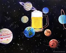 Thirsty Thursday Beer Painting Beer in the Center of the Solar System. Man Bars, Easy Canvas Art, Beer Art, Birthday Gift For Him, Thirsty Thursday, Bar Signs, Solar System, Craft Beer, Beautiful Day
