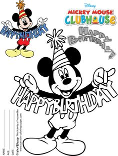 mickey mouse happy birthday mickey on his birthday party in mickey mouse clubhouse coloring page