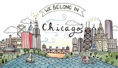 Enjoy this charming illustration of Chicago and some of its finest features. The print shows off some of the citys most well loved landmarks, a