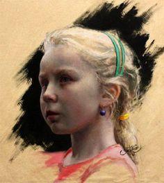 Scandinavian Girl by Cesar Santos Cuban) Female Portrait, Portrait Art, Portrait Paintings, Cesar Santos, Classical Realism, Canadian Girls, Pastel Portraits, Head & Shoulders, American Artists