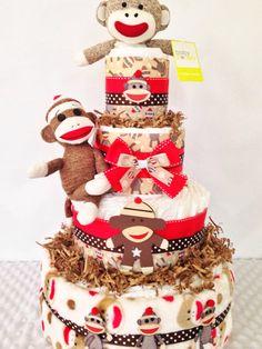 Sock Monkey Baby Boy Diaper Cake Newborn Baby by AllDiaperCakes