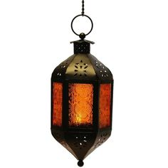 Amber Glass Hanging Moroccan Candle Lantern with Chain ($16) ❤ liked on Polyvore featuring home, home decor, candles & candleholders, moroccan style lanterns, moroccan home decor, moroccan home accessories, moroccan lanterns and moroccan candle