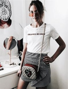 Pinterest: •Linell• Casual t-shirt and gingham skirt.