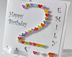 Handmade 3D '2' Card - 2nd Birthday Card, Personalised Age 2 Card, Happy Birthday, Two Years Old, Second Card, Childrens Boy Girl (BHA02)