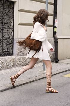 brown suede fringe back and lace up sandals