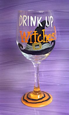 A personal favorite from my Etsy shop https://www.etsy.com/listing/247059554/drink-up-witches-wine-glass-halloween Wine Glass Crafts, Wine Glass Sayings, Wine Craft, Wine Bottle Crafts, Diy Bottle, Wine Bottles, Decorated Wine Glasses, Painted Wine Glasses, Halloween Wine Glasses